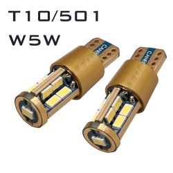 14K GOLD CANBUS T10/501/W5W 17 LED BULBS - PAIR