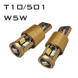 14K GOLD CANBUS T10/501/W5W 9 LED BULBS - PAIR