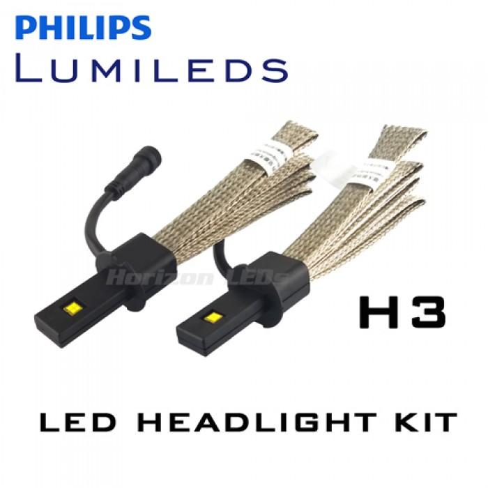 H3 Philips Lumileds Luxeon Headlight Led Kit 2500 Lumens